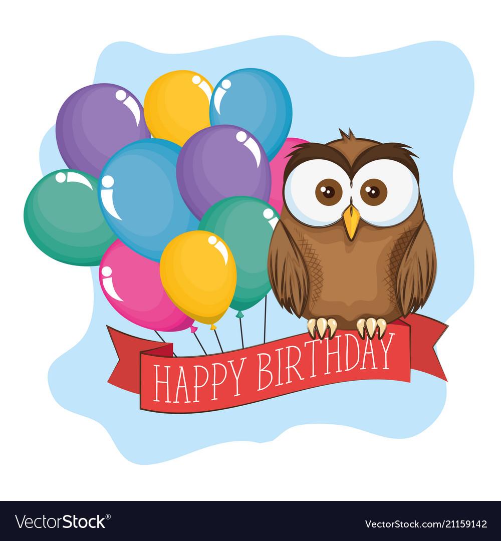 Little Cute Owl Birthday Card Royalty Free Vector Image