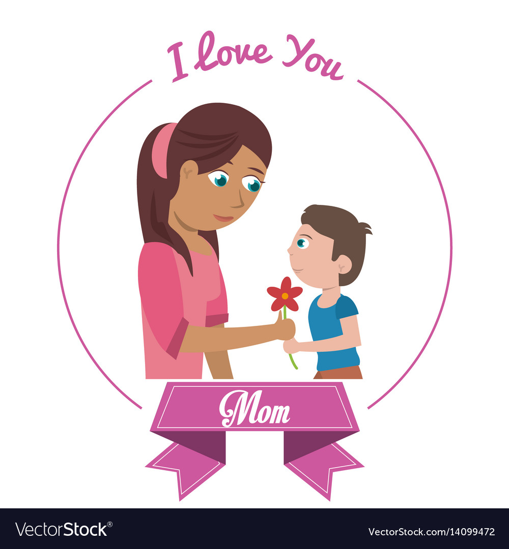 Download I love you mom card son giving flower Royalty Free Vector