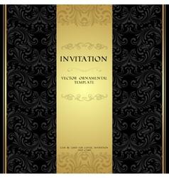 black card gold invitation vintage
