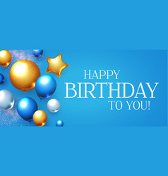 Happy Birthday Blue Gold Vector Images Over 4 900
