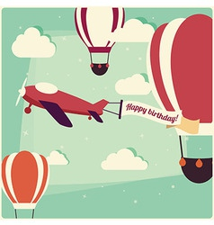 airplane birthday invitation vector