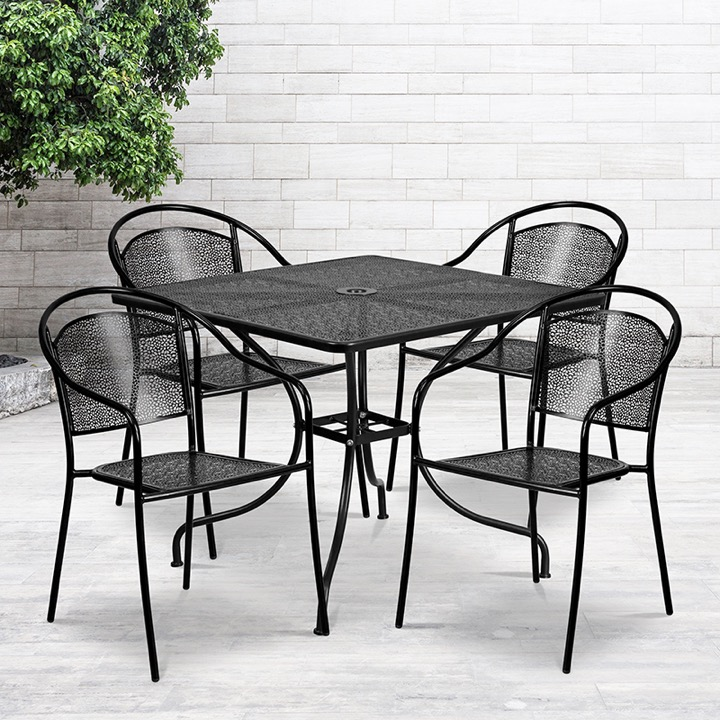 commercial grade 35 5 square black indoor outdoor steel patio table set with 4 round back chairs
