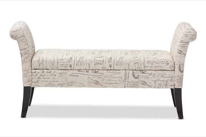 designer studios avignon script patterned french laundry fabric storage ottoman bench