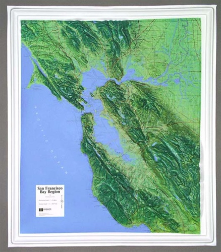 San Francisco Bay Raised Relief Map from OnlyGlobes com Alternative Views