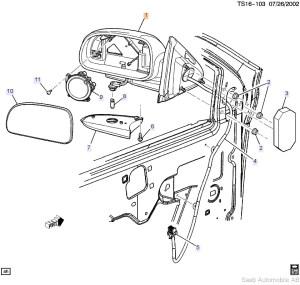 Saab 97x Mirror (2005) ITEM #1 Passenger Side