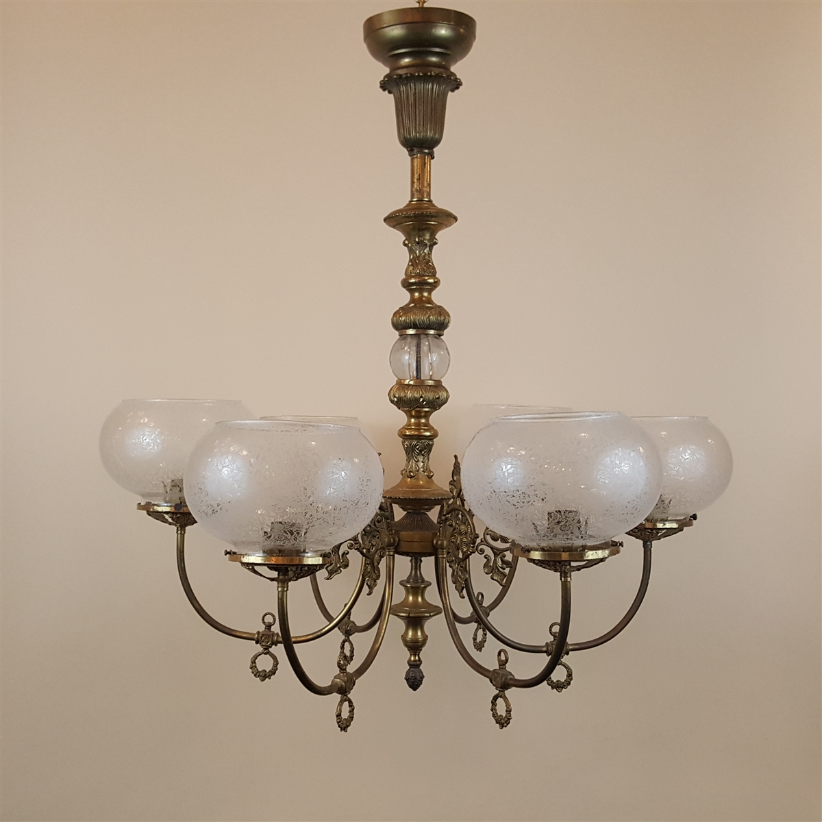 6 arm vintage reproduction gas light sold
