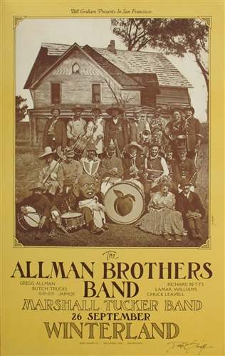 the allman brothers and the marshall tucker band original concert poster
