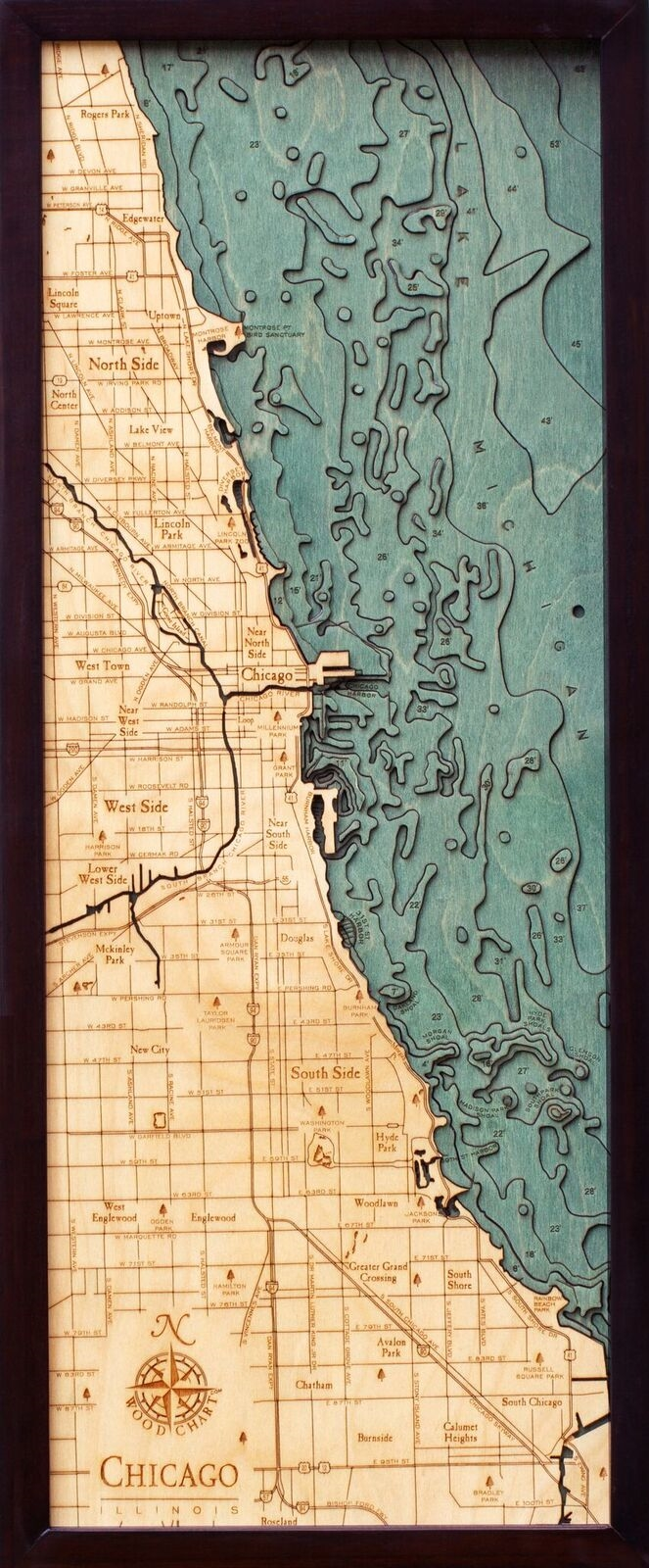 Chicago Shoreline Nautical Map   3D Nautical Wood Map View Larger Photo