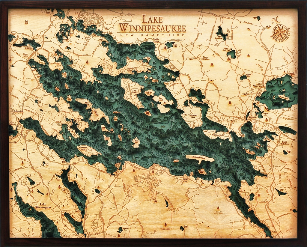 Custom Wood Charts of Lake Winnipesaukee from Carved Lake Art     View Larger Photo