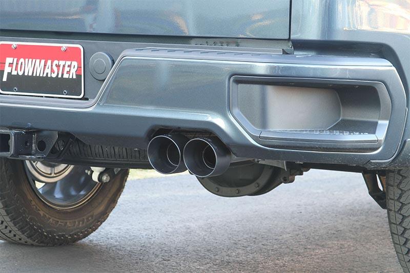 flowmaster 3 american thunder cat back dual exhaust system w dual rear exit 4 quad black tips 2019 2021 silverado 1500 5 3l