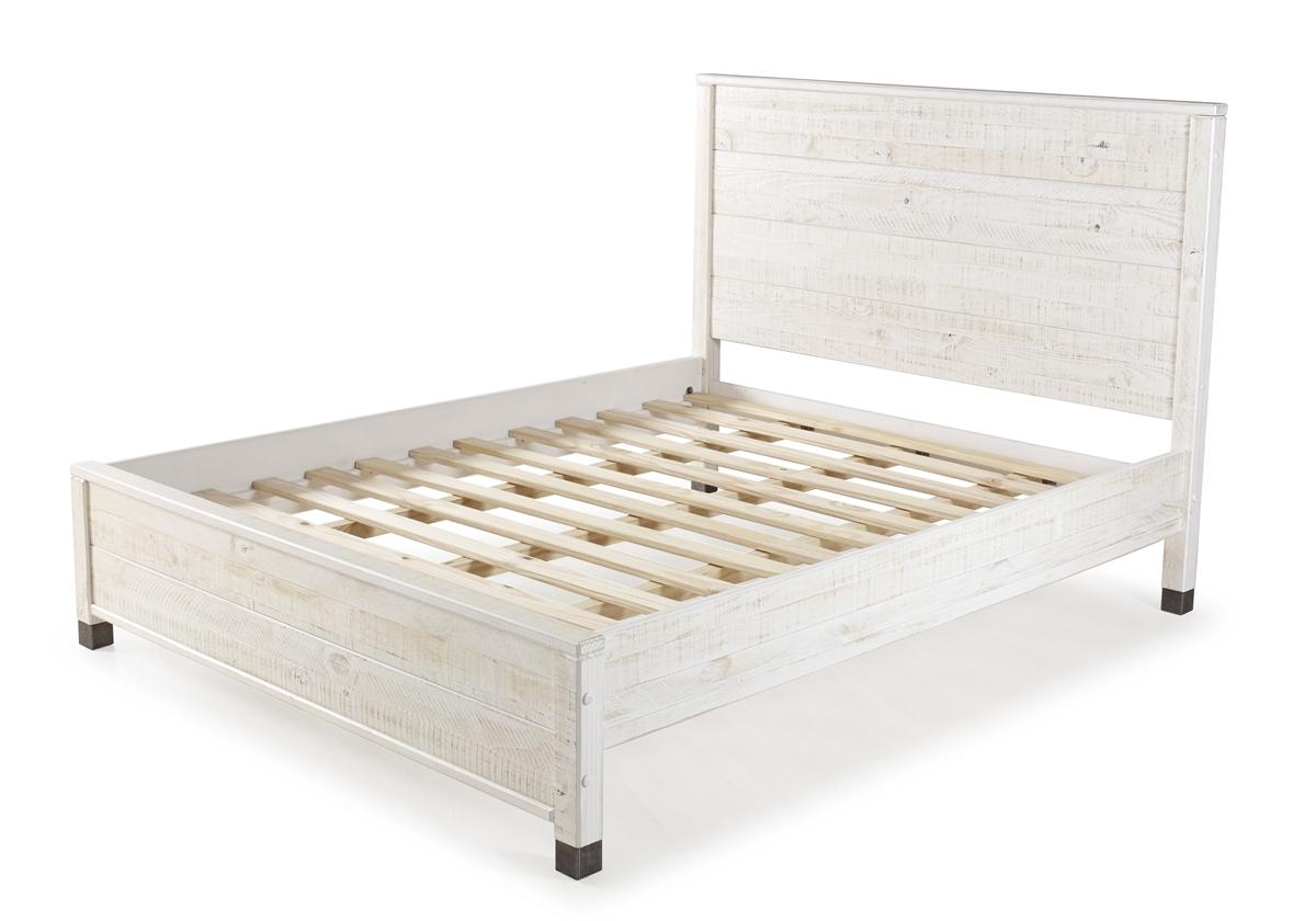 Platform Bed In Shabby White Finish