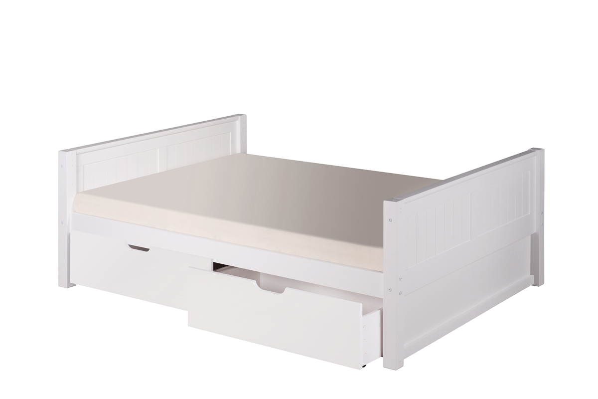 Full Size Platform Bed Drawers Panel Style White