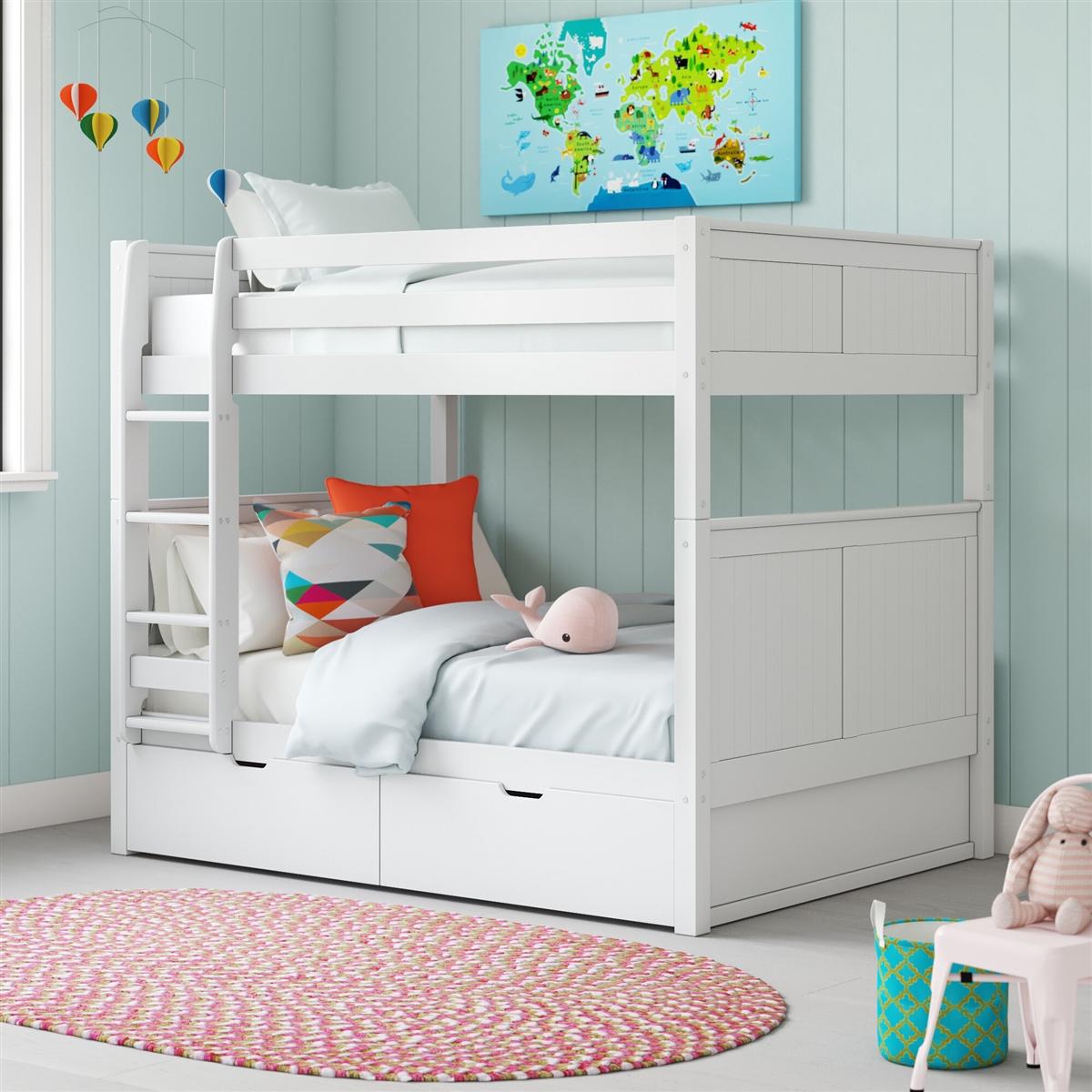 Full On Full Bunk Bed Drawers Panel White