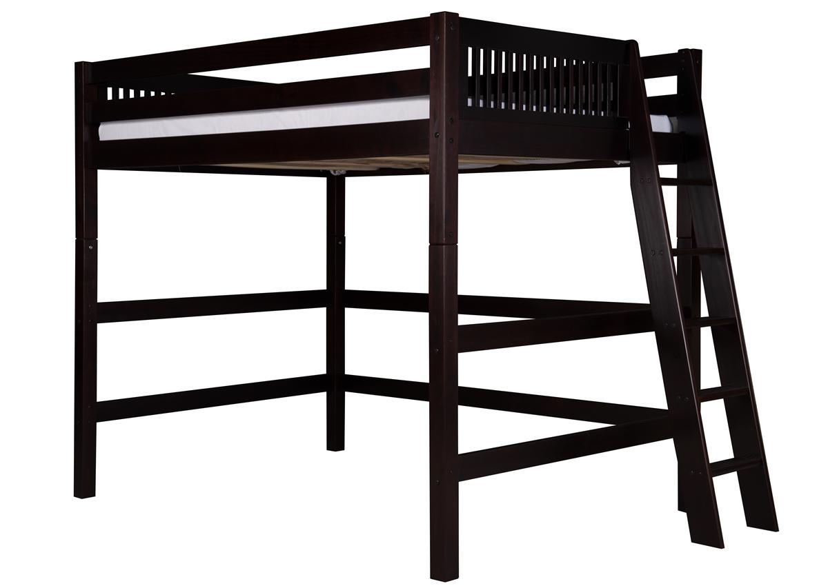 Full High Loft Bed Mission Lateral Ladder Black