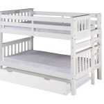 Mission Low Bunk Bed Twin Over Twin Bed End Ladder White With Twin Size Under Bed Trundle