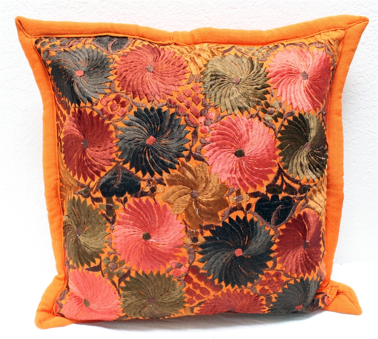 mexican embroidered pillowcase burnt orange 1