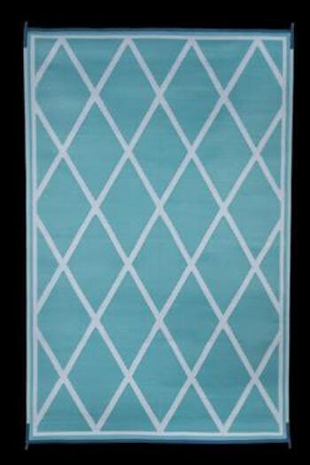 faulkner 68902 reversible rv outdoor mat turquoise white diamond design 9 x 12