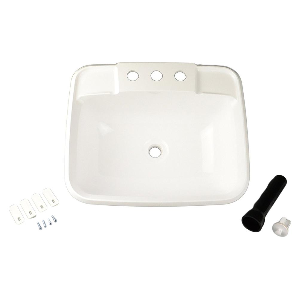 lasalle bristol 16186pwa single drop in rv bathroom sink white