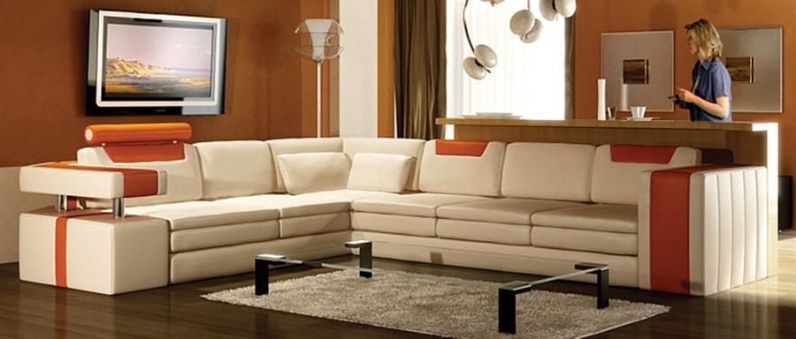 vista modern italian design leather sectional sofa cream and orange