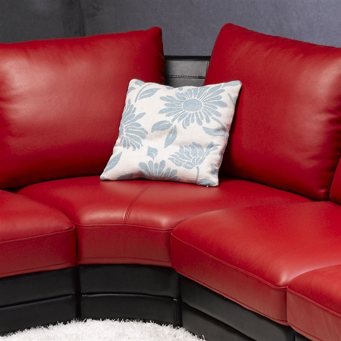 modern red black leather sectional sofa with pillows