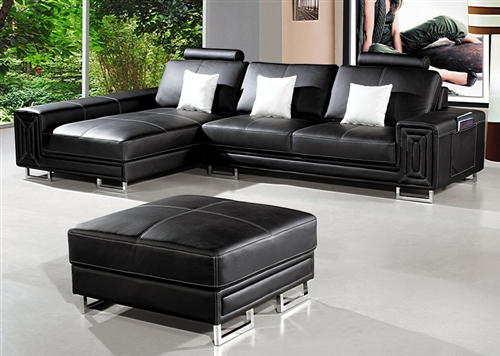 modern compact black sectional sofa ottoman