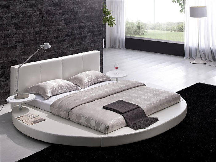 modern white leather headboard round bed king