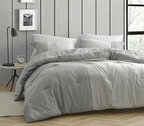 half moon dark gray and light gray yarn dyed twin xl comforter