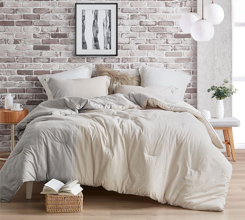 half moon gray and cream yarn dyed oversized twin comforter