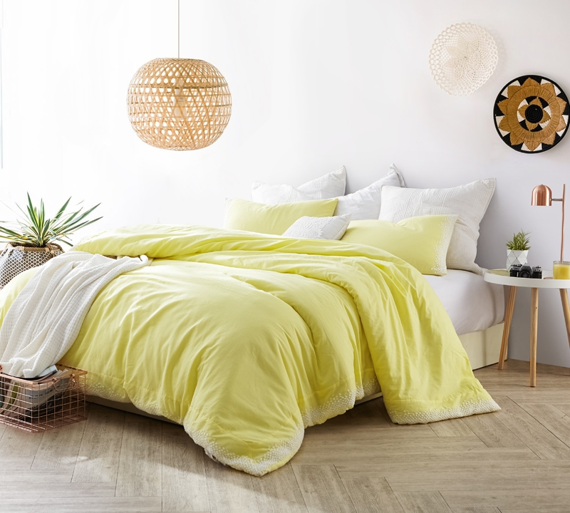 oversized queen xl bedding in vibrant bright yellow and stylish embroidered design with cozy cotton material for queen bed