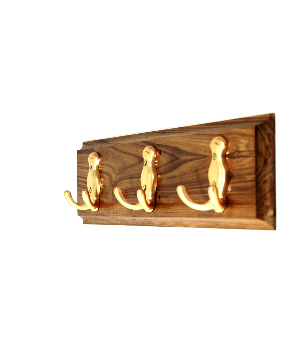 wooden hook rack golden hooks