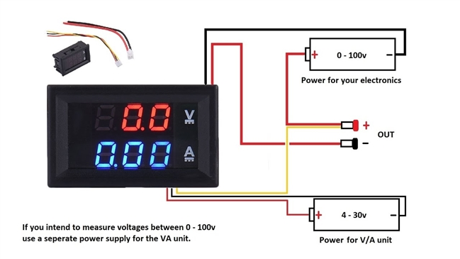 DC Dual Voltmeter  Ammeter Blue Red LED, up to, 100VDC, 10A