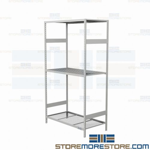 heavy duty industrial racking with medium duty beams and wire decking 3 levels 48 wide x 24 deep x 75 high sms 81 srd5006w