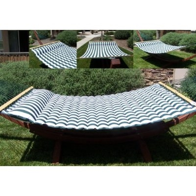 luxurious cushioned pillow top hammock double sided green white or navy white striped