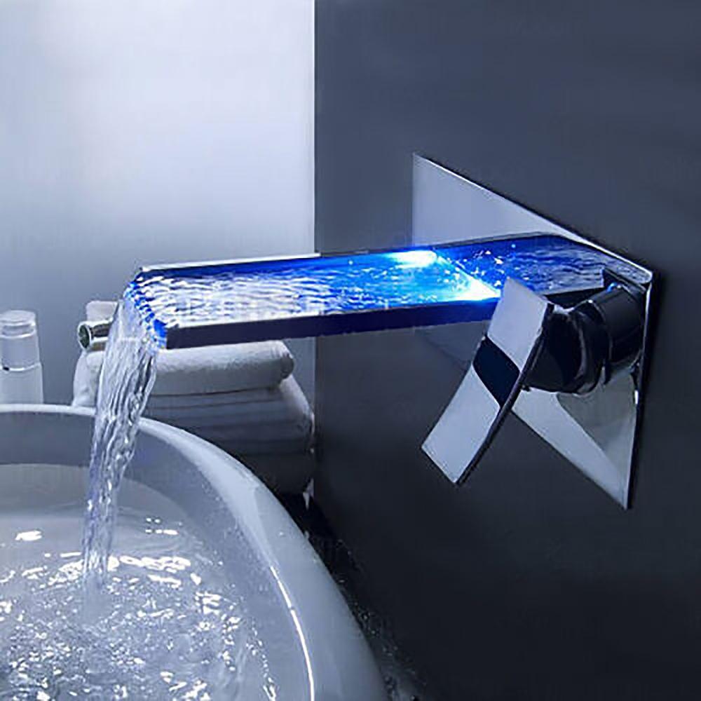 lucania wall mount led waterfall bathroom sink faucet
