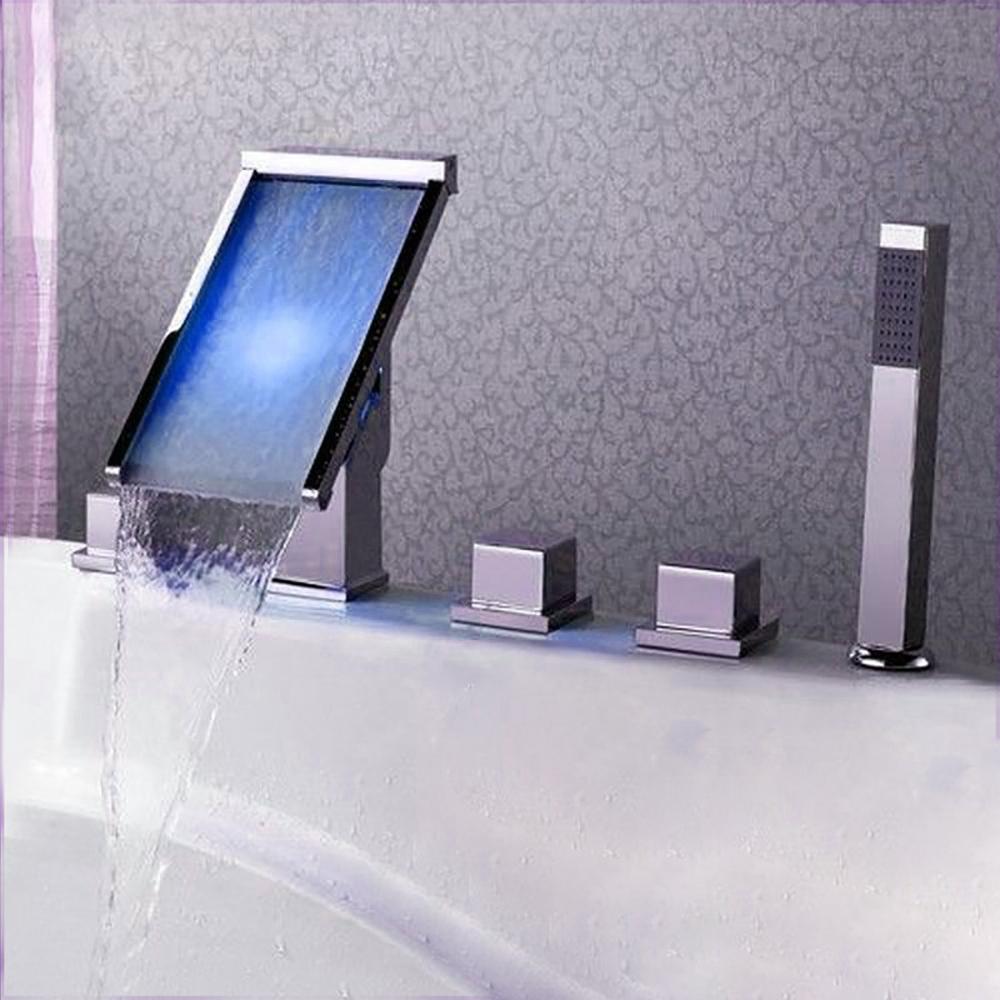 fontana triple handle led waterfall bath tub faucet