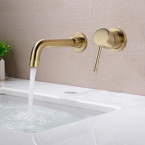 geneva matte brass wall mounted single handle gold bathroom mixer sink faucet