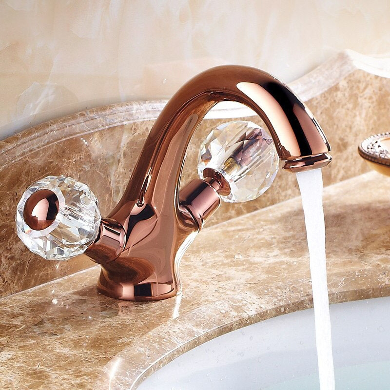 euro style suex rose gold sink faucet dual crystal handles