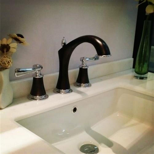 reno luxueux 8 inch chrome oil rubbed bronze widespread bathroom faucet