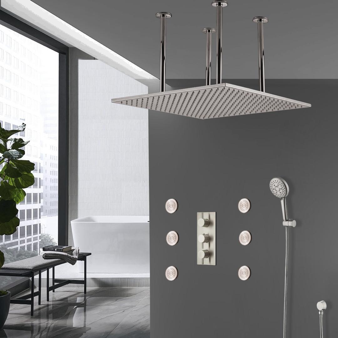 fontana sofia large ceiling rain shower head set with shower body sprays and hand shower