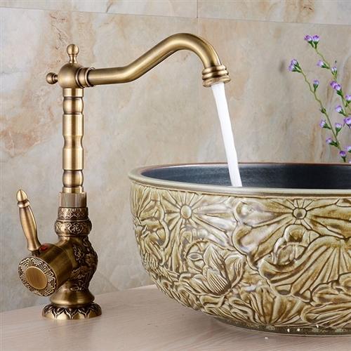 milo luxury antique bronze copper carving deck mount bathroom sink faucet