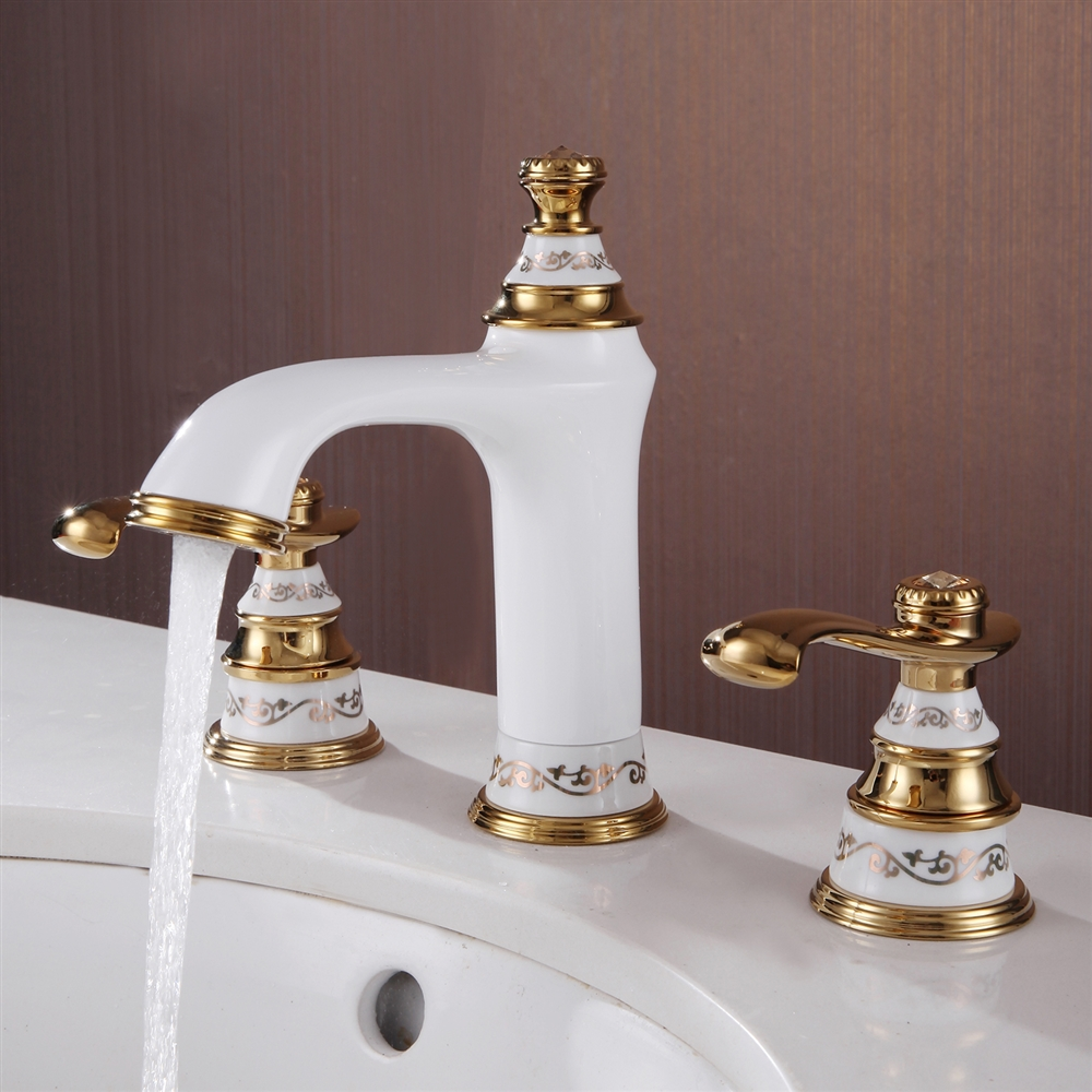 fontana gironde dual handle white gold bathroom sink faucet