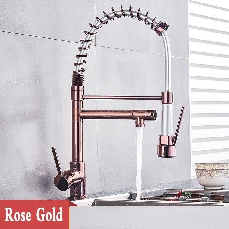 fontana st gallen rose gold pull down dual swivel spout kitchen faucet