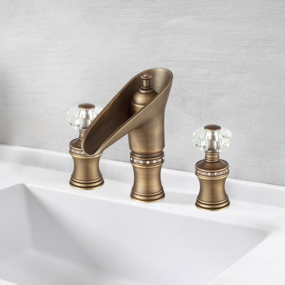 tivoli antique bronze dual crystal handle knobs bathroom faucet