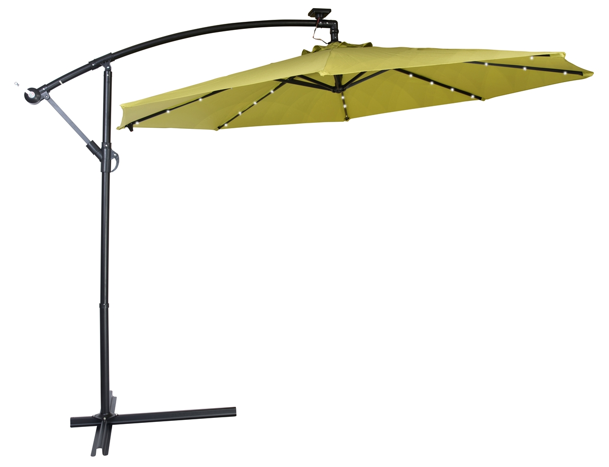 10 deluxe polyester offset patio umbrella with led lights by trademark innovations light green