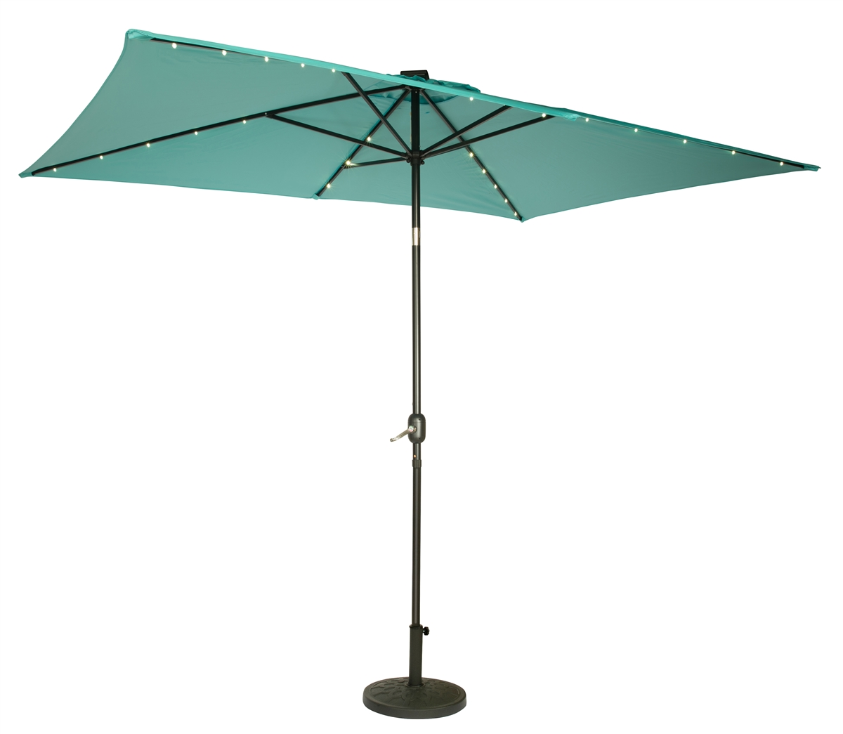 10 x 6 5 rectangular solar powered led lighted patio umbrella by trademark innovations teal