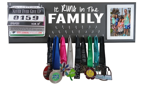 family race bibs and medals display rack