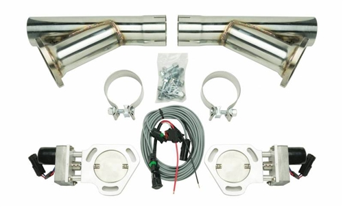 pypes universal electric exhaust cutout kit with 2 5 stainless steel y pipes