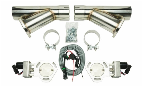 pypes universal electric exhaust cutout kit with 3 stainless steel y pipes