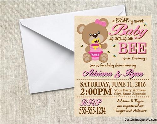 Baby Shower Invitation Honey Bear And Bees