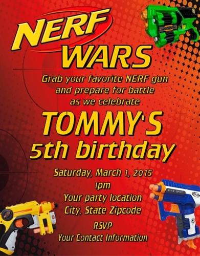 birthday invitation nerf wars